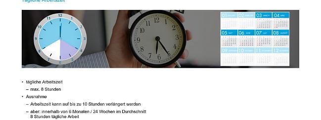 SZENARIS Online-Unterweisung Arbeitszeit