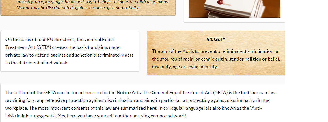 The General Equal Treatment Act (GETA)